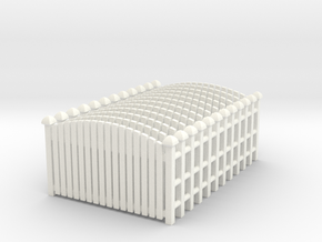 Fence 02. HO Scale (1:87) in White Processed Versatile Plastic