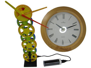 Gear Tower Clock - motorized in White Strong & Flexible Polished