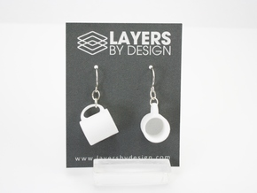 Mug Earrings in White Processed Versatile Plastic