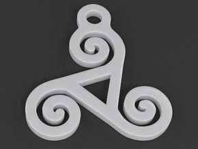 Triskelion Pendant 04 in White Strong & Flexible Polished