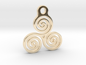 Triskelion Pendant 05 in 14k Gold Plated Brass