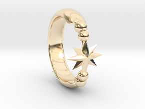 Ring of Star 14.1mm in 14k Gold Plated Brass