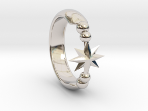 Ring of Star 14.1mm in Rhodium Plated Brass