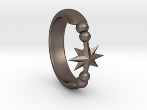 Ring of Star 14.1mm in Polished Bronzed Silver Steel