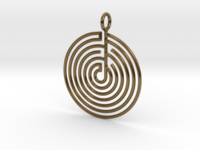 mystery little labyrinth Pendant in Polished Bronze