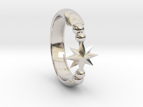 Ring of Star 15.3mm in Rhodium Plated Brass