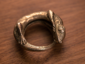 (Size 9) Gecko Ring in Polished Bronzed Silver Steel