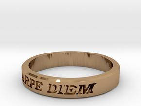 Carpe Diem US Size 10 Ring in Polished Brass