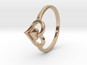 Heart Ring Size 5 in 14k Rose Gold Plated Brass