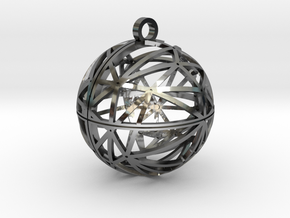 Craters of Ganymede Pendant in Fine Detail Polished Silver