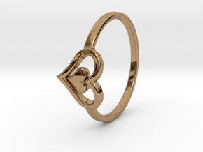 Heart Ring Size 6.5 in Polished Brass