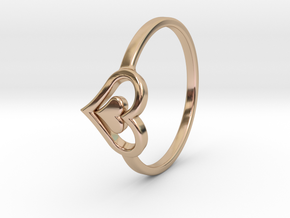 Heart Ring Size 6.5 in 14k Rose Gold Plated Brass