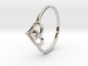 Heart Ring Size 8 in Rhodium Plated Brass