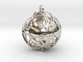 Craters of Phoebe Pendant in Rhodium Plated Brass