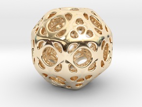 hydrangea ball 01 in 14k Gold Plated Brass