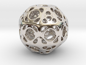 hydrangea ball 01 in Rhodium Plated Brass