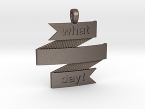 What a Day Banner Pendant in Polished Bronzed Silver Steel