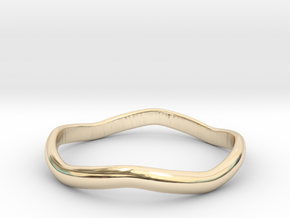 Ring Weaved Shape Design Size 5 in 14k Gold Plated Brass