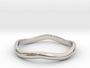 Ring Weaved Shape Design Size 6 in Rhodium Plated Brass