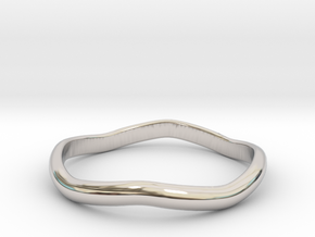 Ring Weaved Shape Design Size 6.5 in Rhodium Plated Brass