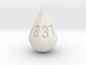 Teardrop Dice in White Strong & Flexible: d8