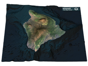 The Big Island Map, Hawaii in Full Color Sandstone
