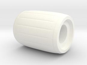 """Geek Beads"" Barrel in White Processed Versatile Plastic"