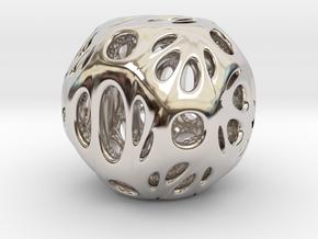 hydrangea ball 06 in Rhodium Plated Brass