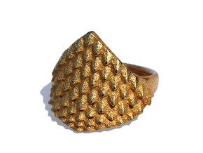 Dragonscales Ring in Polished Gold Steel