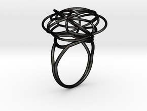 FLOWER OF LIFE Ring Nº2 in Matte Black Steel
