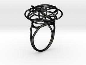 FLOWER OF LIFE Ring Nº2 in Matte Black Steel