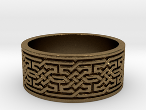 Solid Geometric Knot Ring (Size 12) in Natural Bronze