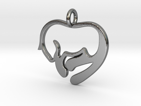 Cat Lover Pendant in Polished Silver