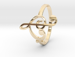 Size 8 Clefs Ring in 14K Yellow Gold