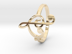 Size 9 Clefs Ring in 14k Gold Plated Brass