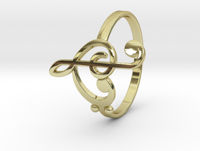 Size 11 Clefs Ring in 18k Gold Plated Brass
