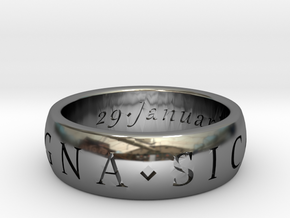 Size 6 Sir Francis Drake, Sic Parvis Magna Ring in Fine Detail Polished Silver