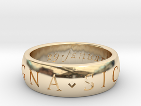 Size 6 Sir Francis Drake, Sic Parvis Magna Ring in 14k Gold Plated Brass