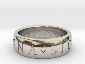 Size 6 Sir Francis Drake, Sic Parvis Magna Ring in Rhodium Plated Brass
