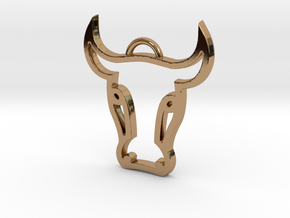 Bull Head Pendant in Polished Brass