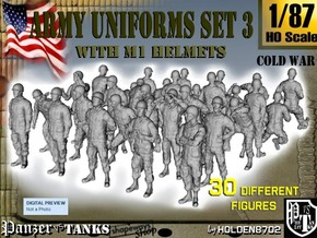1-87 Army Modern Uniforms Set3 in Smooth Fine Detail Plastic