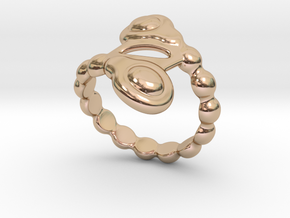 Spiral Bubbles Ring 30 - Italian Size 30 in 14k Rose Gold Plated Brass