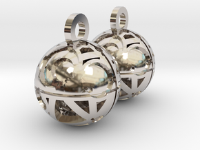Craters of Iapetus Earrings in Rhodium Plated Brass