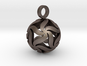 Star Ball Floral (Pendant Size) in Polished Bronzed Silver Steel