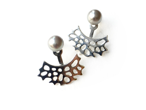 Sea Fan Ear jacket in Polished Silver