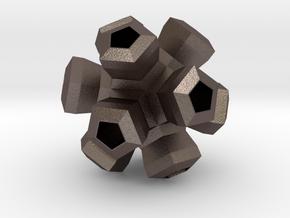 Cauliflower Polyhedron Pendant in Polished Bronzed Silver Steel