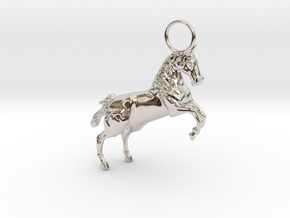 Horse Earring/Pendant in Rhodium Plated Brass