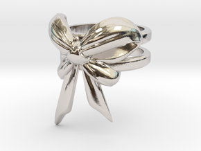 Bow Ring (S7) in Rhodium Plated Brass