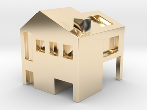 Monopoly house in 14k Gold Plated Brass