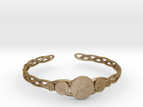 "Celtic Knot Pentacle Cuff Bracelet (2.5"" diameter) in Polished Gold Steel"